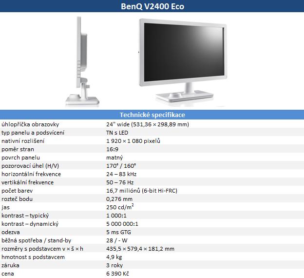 BenQ V2400 Eco: LED podsvícení a nápaditý design