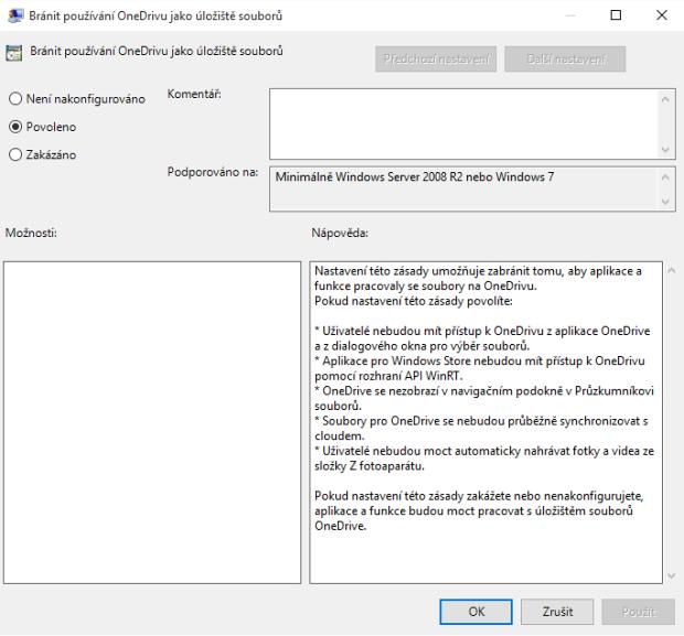 Tohle pro úplné vypnutí OneDrive nestačí