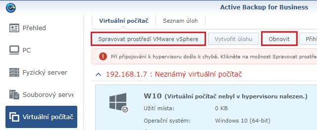 Obnova virtuálního počítače
