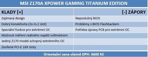 Skylake a MSI Z170A XPOWER Gaming Titanium Edition