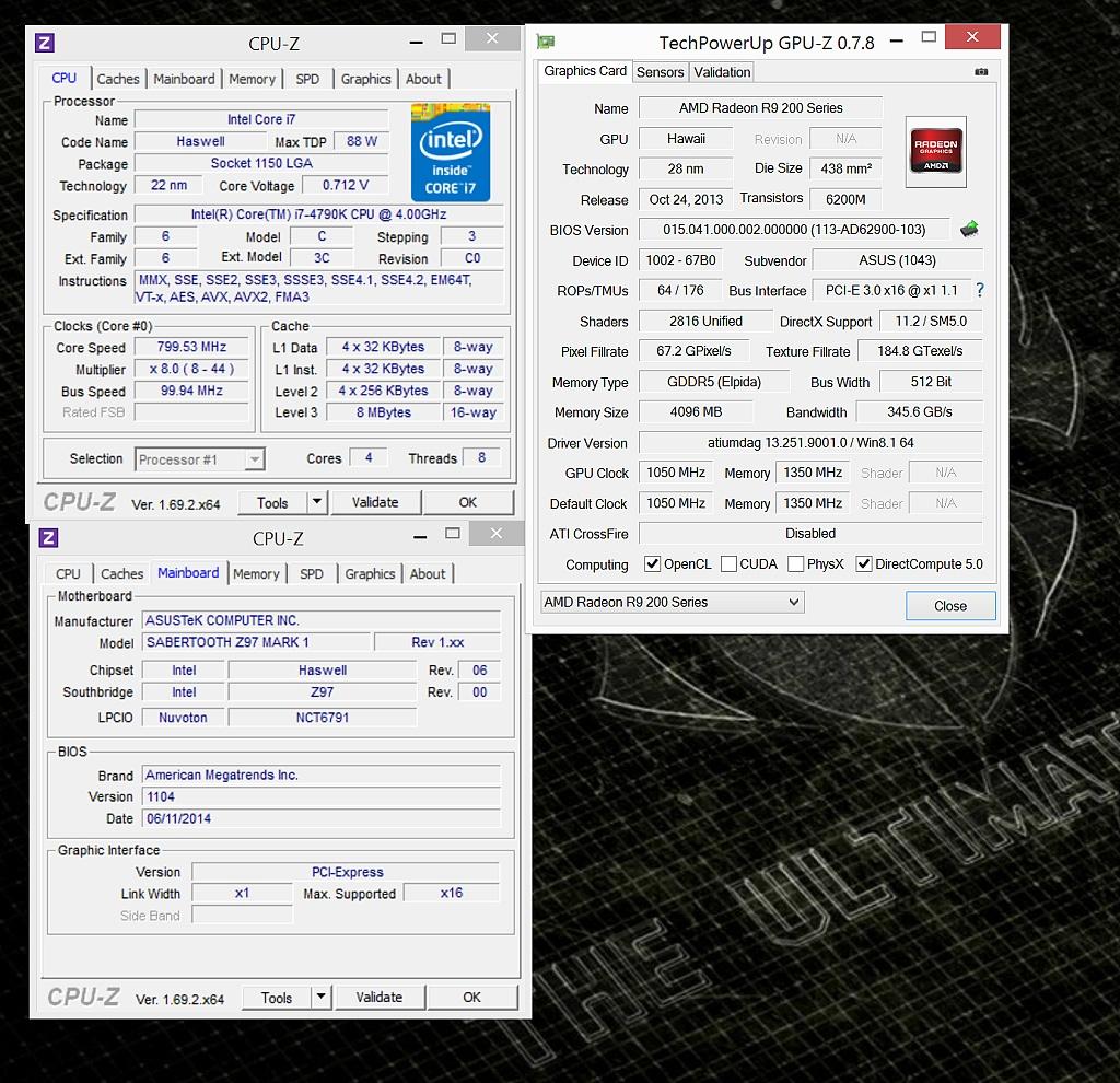CPU-Z detekuje procesor správně, ten se v klidu podtaktovává na 800 MHz a napětí klesá na 0,71 V. Napravo potom GPU-Za informace o grafické kartě.