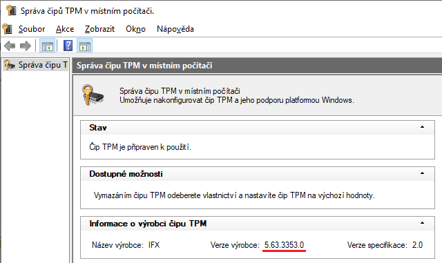 Verze firmware tpm.msc