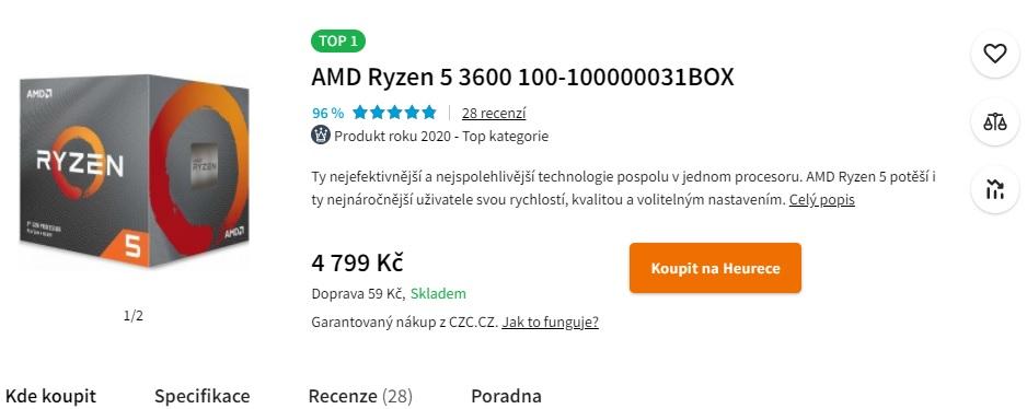 Šestijádrový Ryzen 5 3500X bez SMT je znovu v ČR