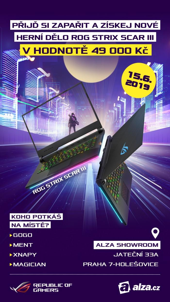 Herní notebooky ROG Strix SCAR III se představí 15. června v Alza Showroomu