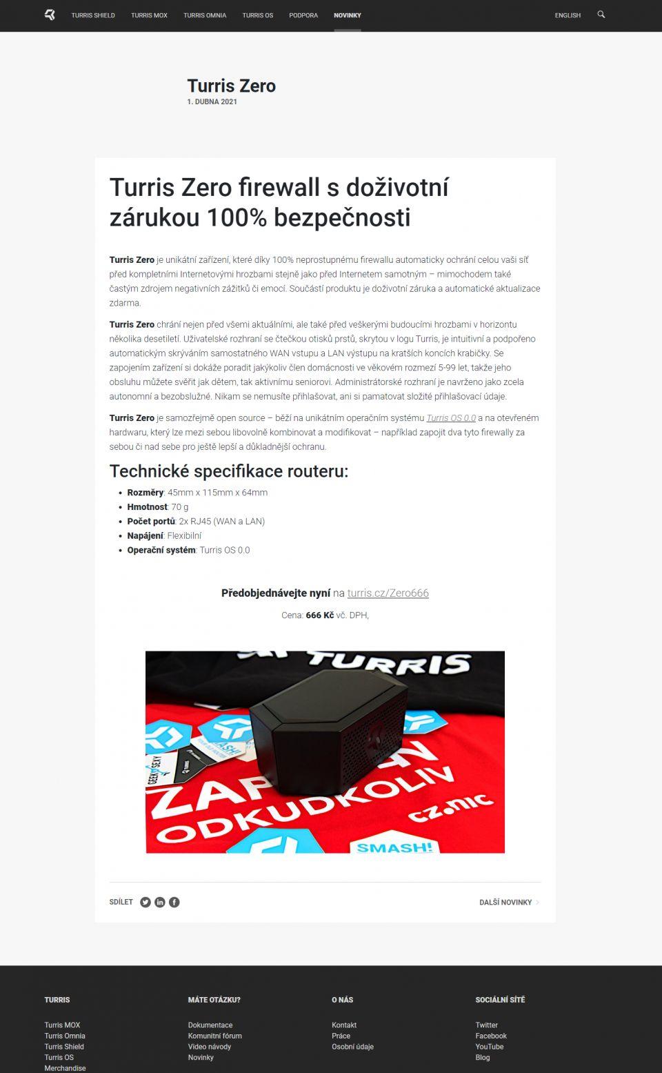 Turris ZERO: 100% efektivní hardwarový FireWALL