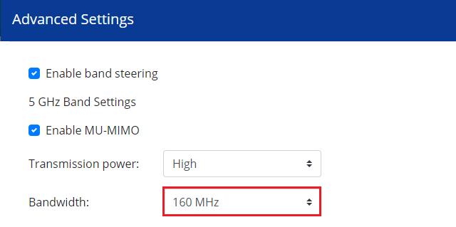 Zapnutí šířky kanálu 160 MHz v QNAP QHora