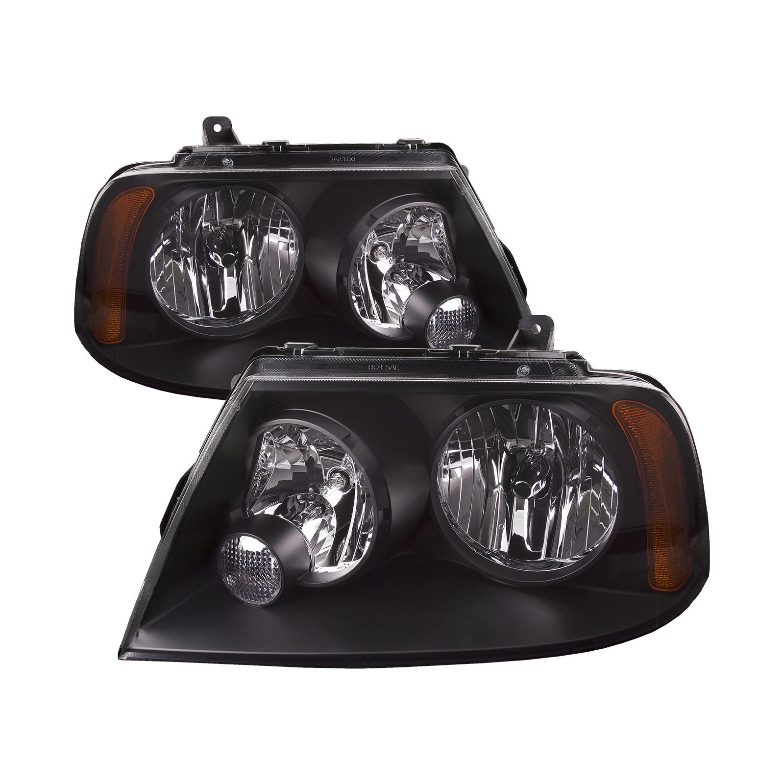Details About Fits 03 06 Lincoln Navigator Headlights Headlamp Set Pair Black Housing
