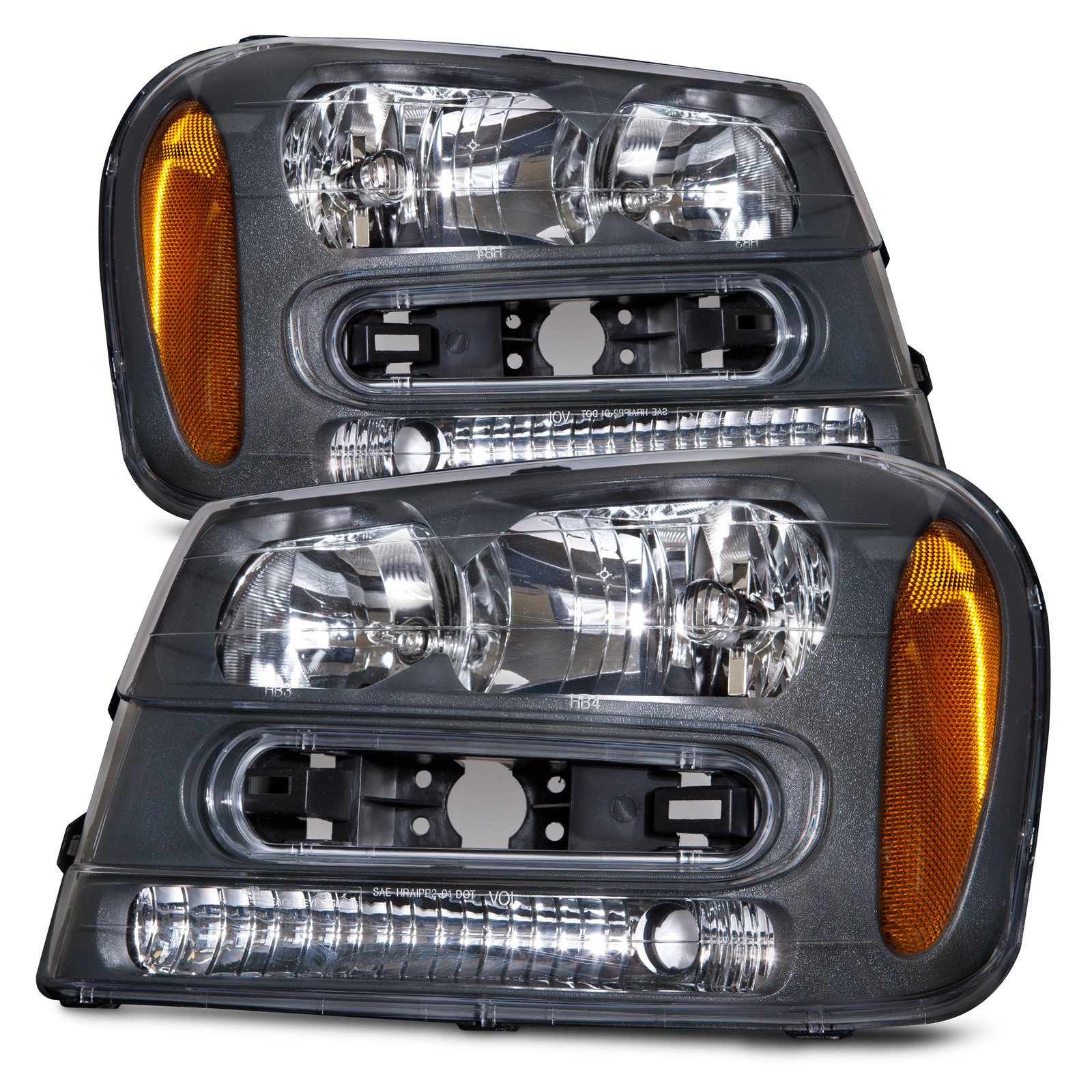 Details About Headlights Set Left Right Fits 02 09 Chevrolet Trailblazer Lt Ls Ss