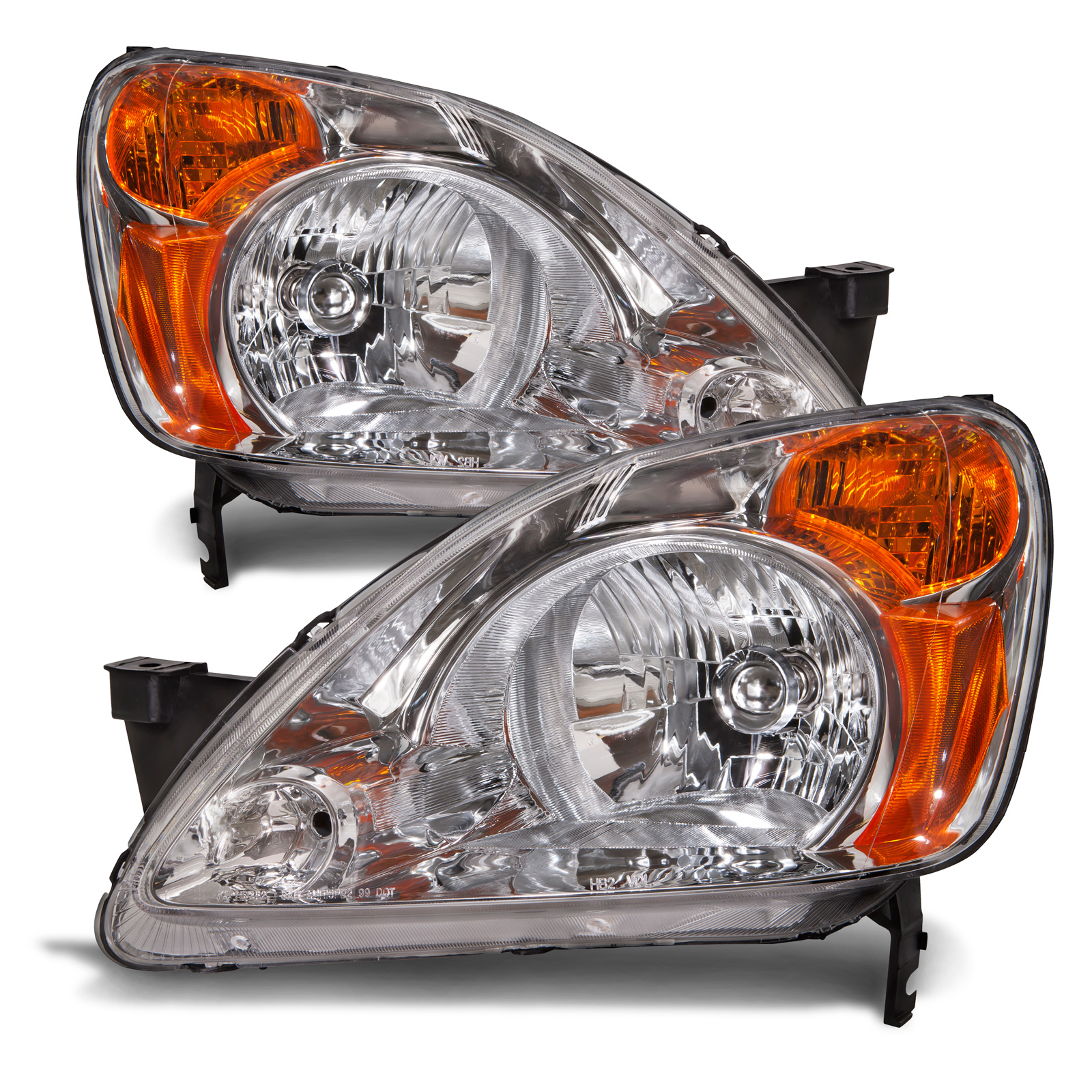 02 04 honda cr v headlights headlamps pair set halogen. Black Bedroom Furniture Sets. Home Design Ideas