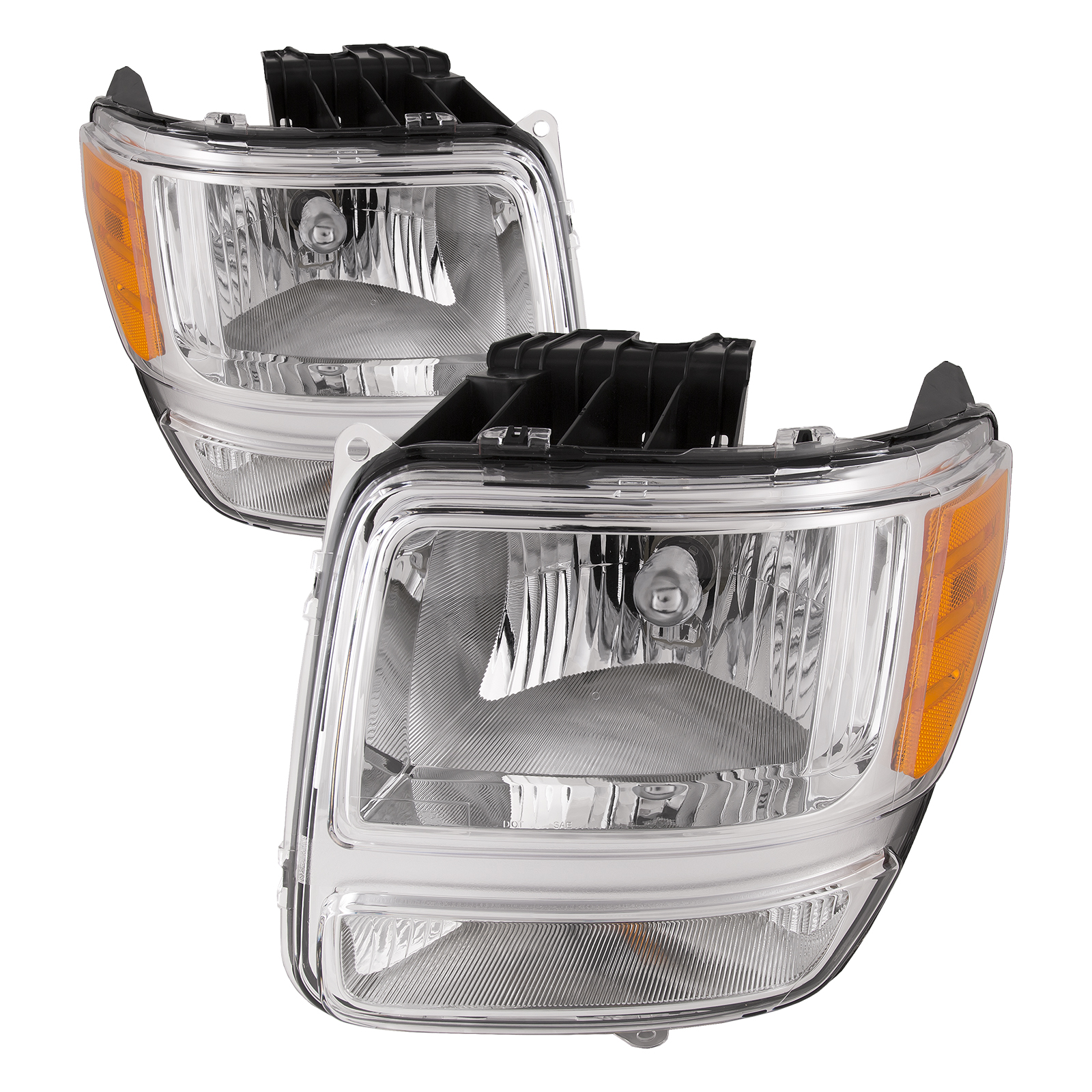 Left /& Right Chrome Front Lamps Headlights with Bulbs Itasca Suncruiser 2003-2005 RV Motorhome Pair