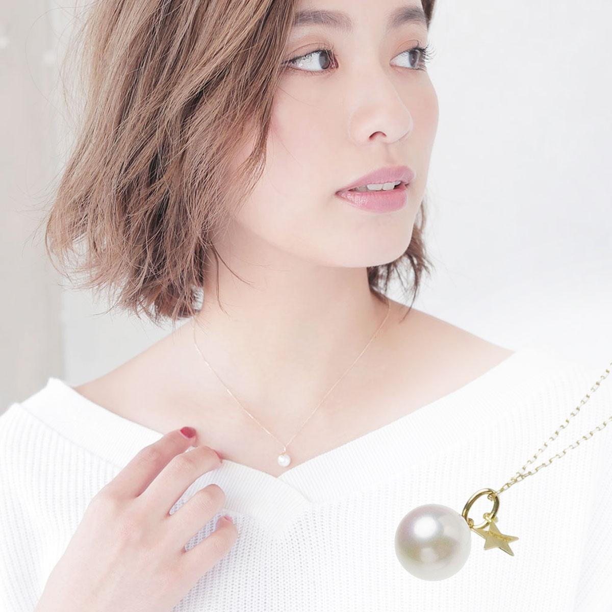 アコヤ 真珠 パール ペンダント ネックレス スター チャーム 約7.0-7.5mm K10YGの写真