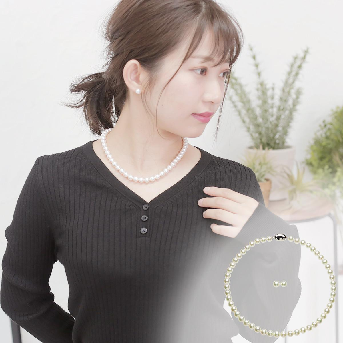 アコヤ オーロラ 花珠 真珠 フォーマル セット 約8.0-8.5mmの写真