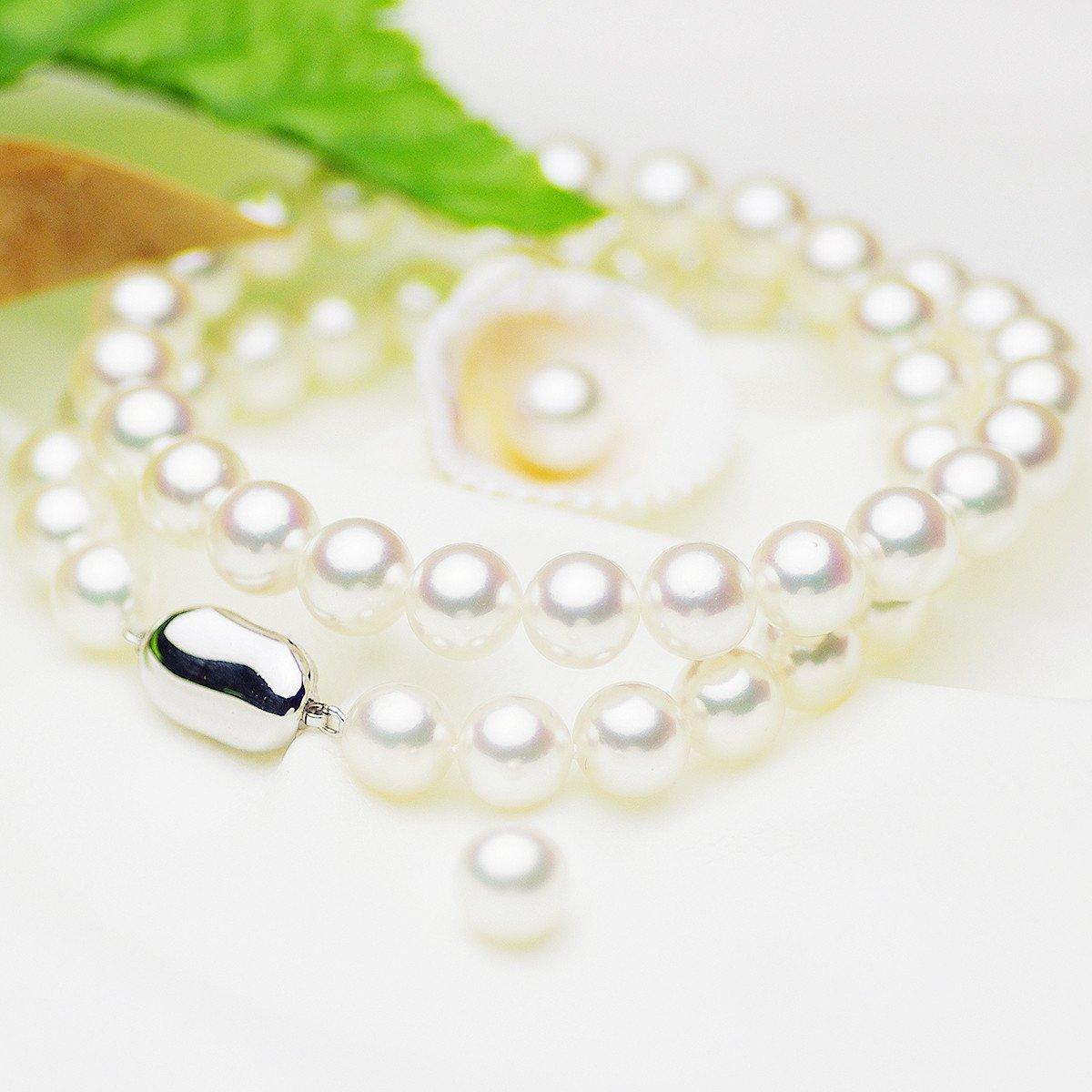 オーロラ花珠 真珠 パール フォーマル ネックレス セット アコヤ 約8.5-9.0mm シルバー SVの写真