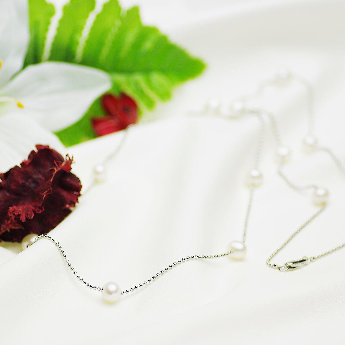 淡水真珠ロングネックレス 約7.0-8.0mmの写真