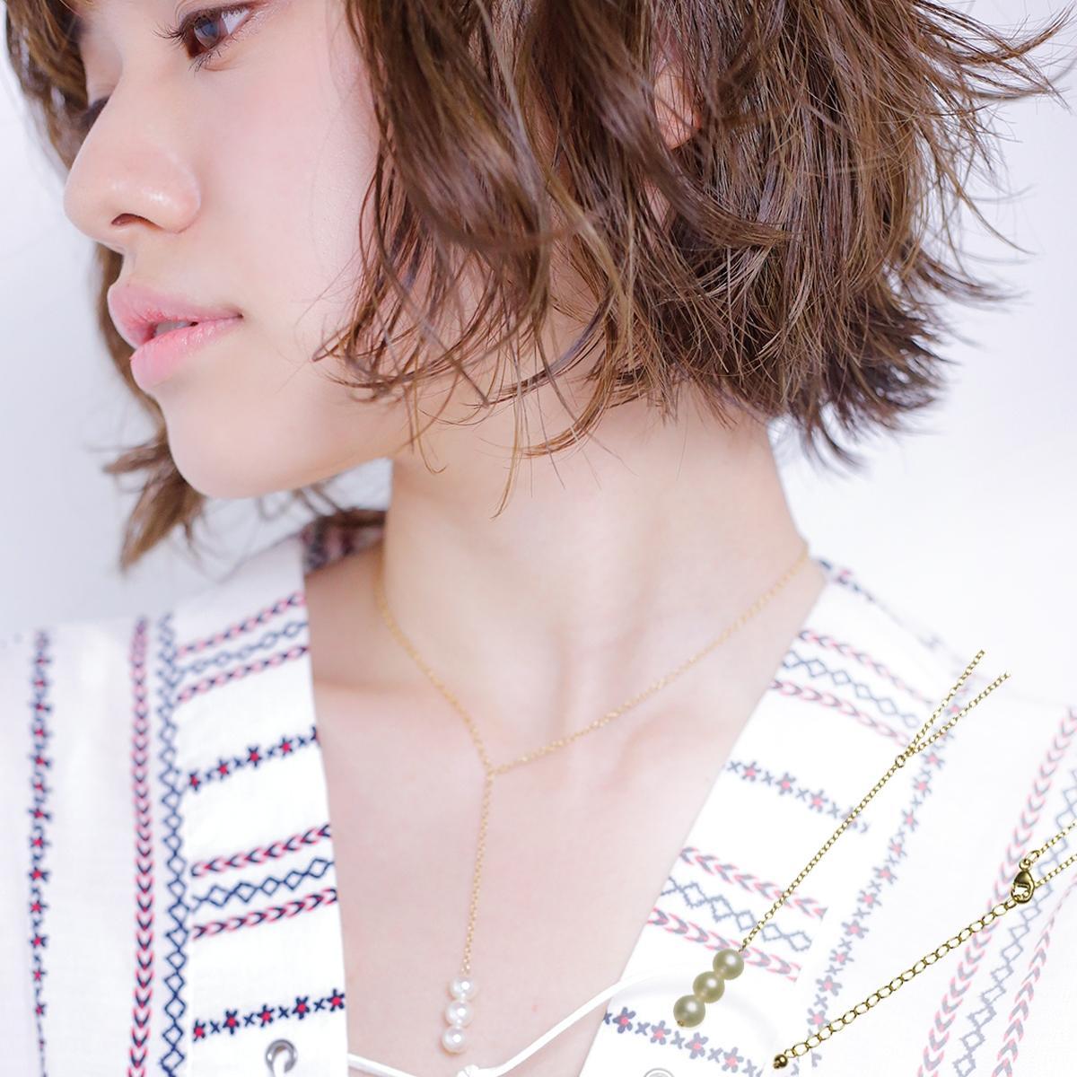 淡水 真珠 パール Y字 ネックレス 6.0mm 14金 ゴールドフィールド K14GF ギフト プレゼントの写真