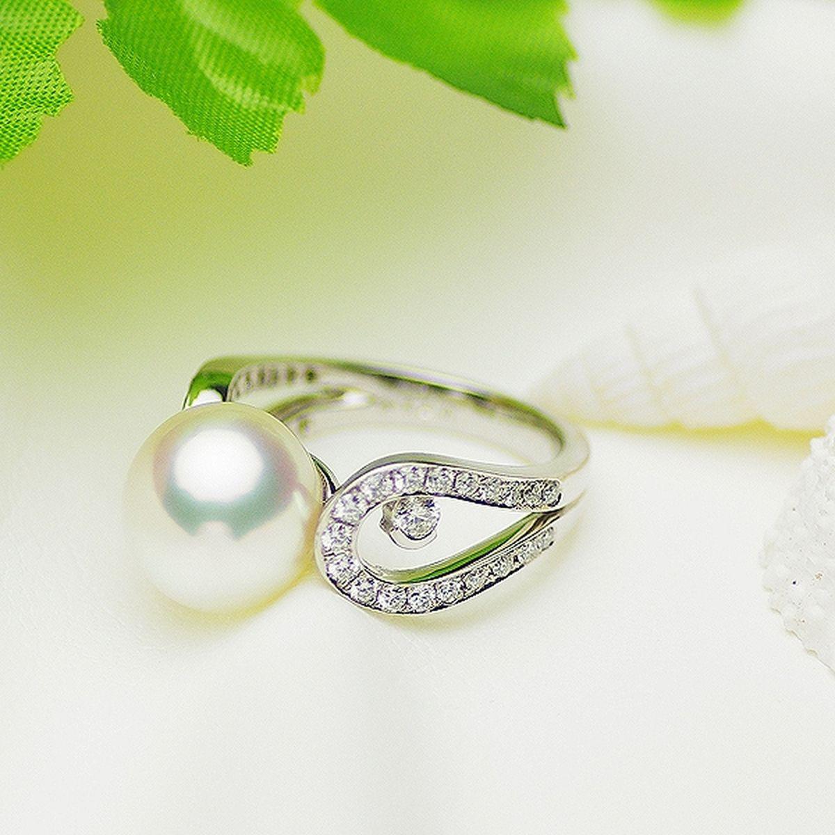 南洋白蝶真珠 パール リング 約11.0mm プラチナ Pt900の写真