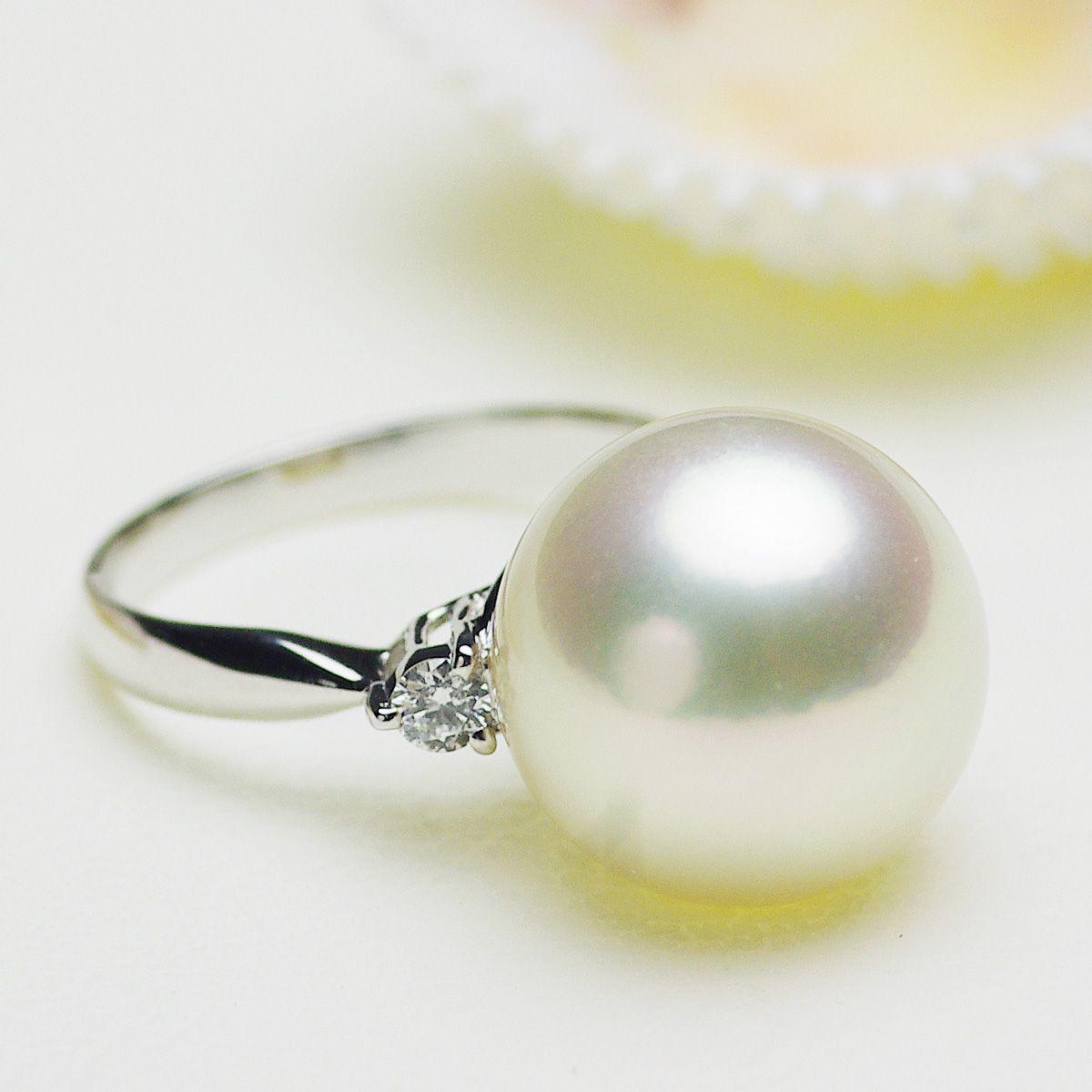 南洋白蝶真珠 パール リング 約13.9mm プラチナ Pt900の写真