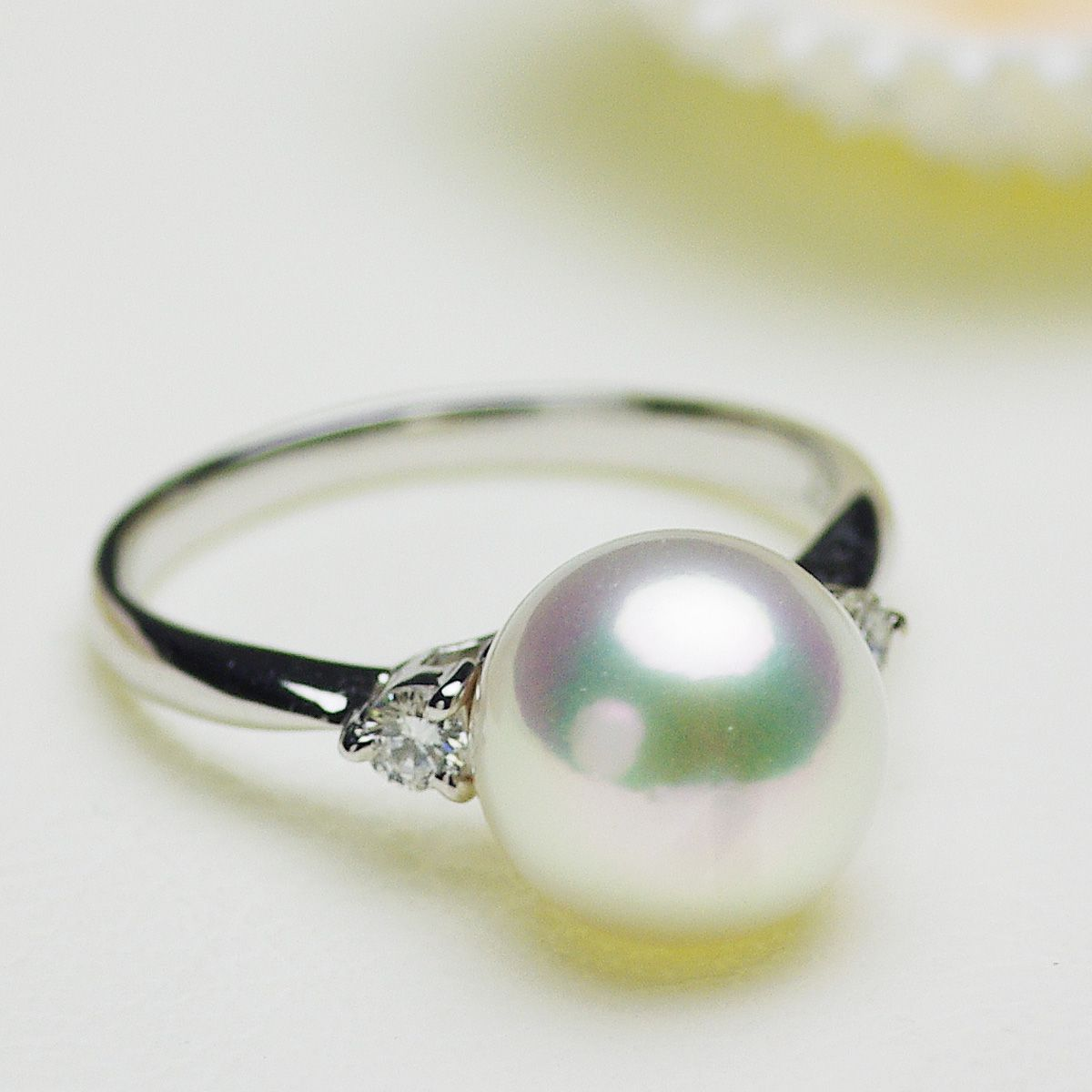 アコヤ花珠真珠 パール リング 約9.5mm プラチナ Pt900の写真