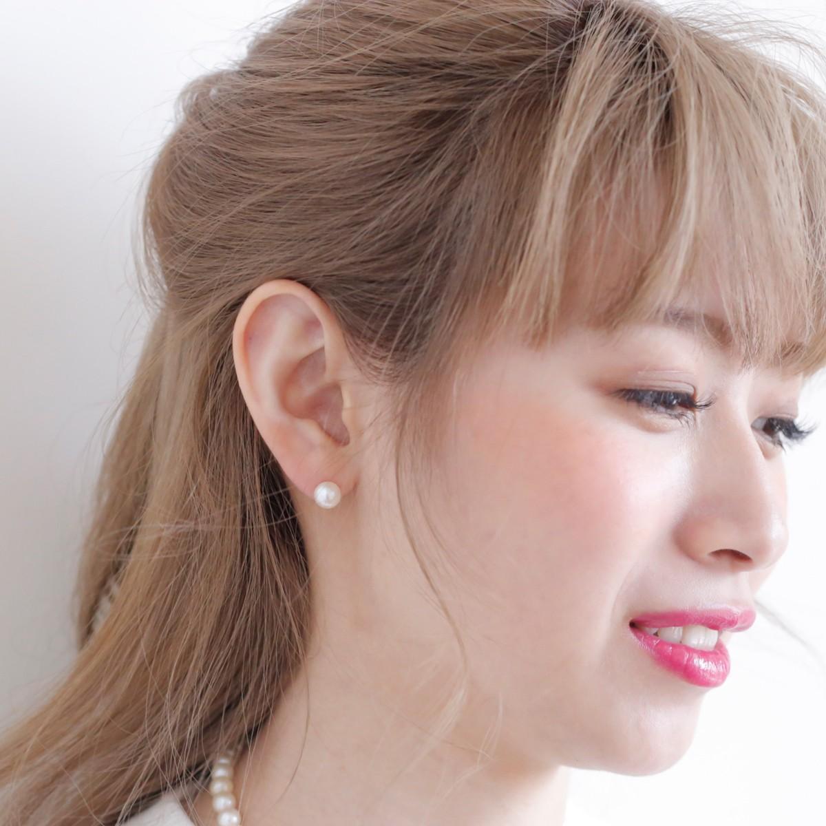 レディース アコヤ 【6月誕生石真珠】 アコヤ 真珠 パール ピアス 約7.5mm ホワイトゴールド K14WGの写真