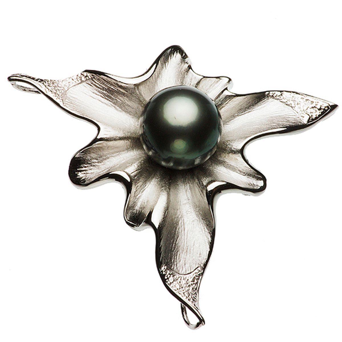 タヒチ黒蝶真珠ブローチ 約13.5mmの写真