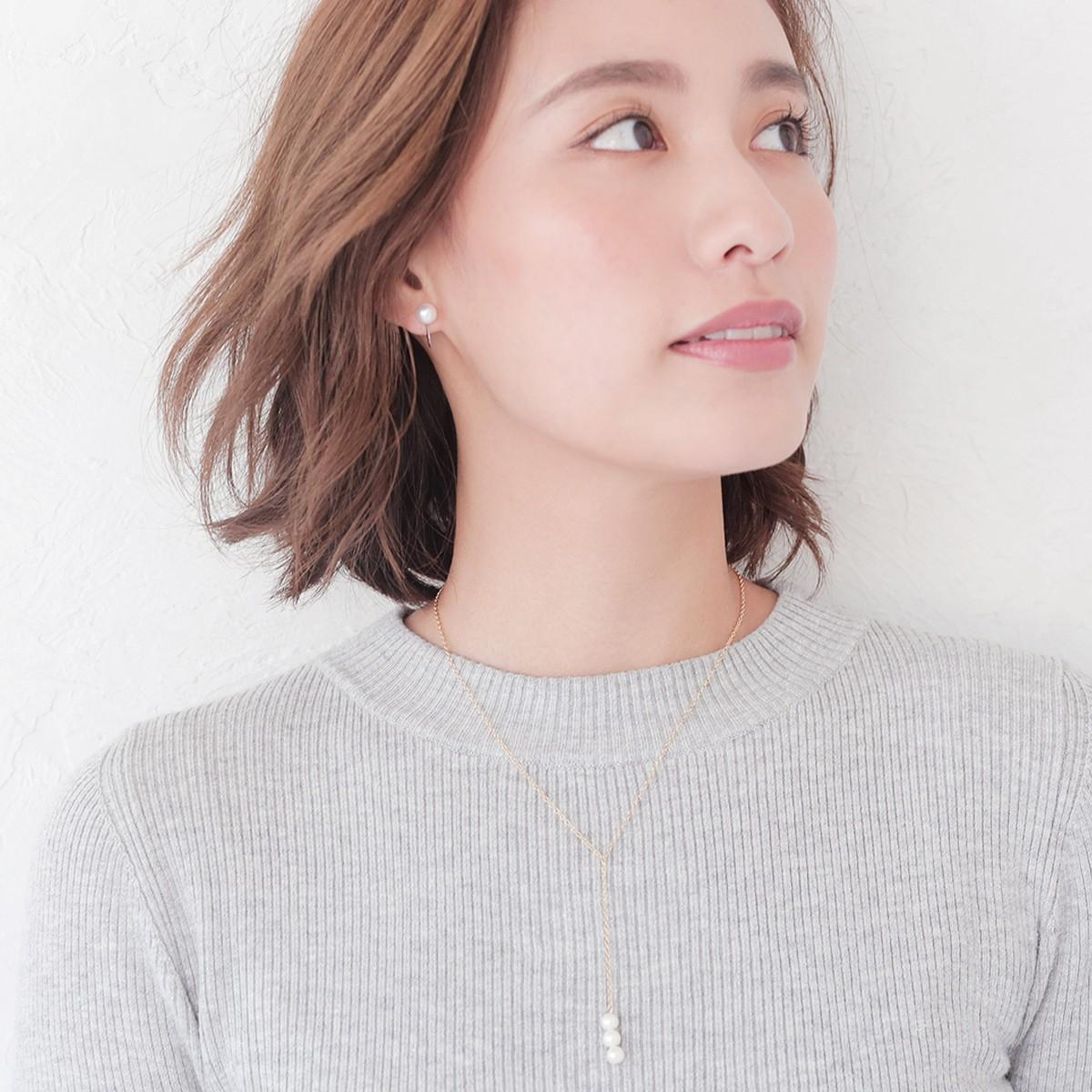 レディース アコヤ 花珠 真珠 パール イヤリング 約6.5mm シルバー SV 真珠 パール ギフト プレゼントの写真