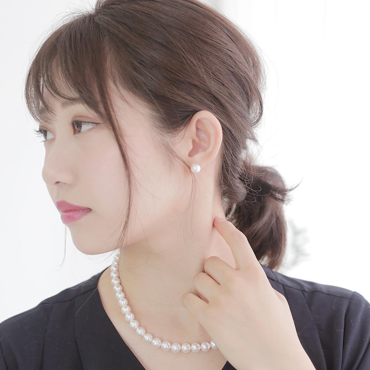 アコヤ 花珠 真珠 パール ピアス 約8.0mm ホワイトゴールド K14WGの写真