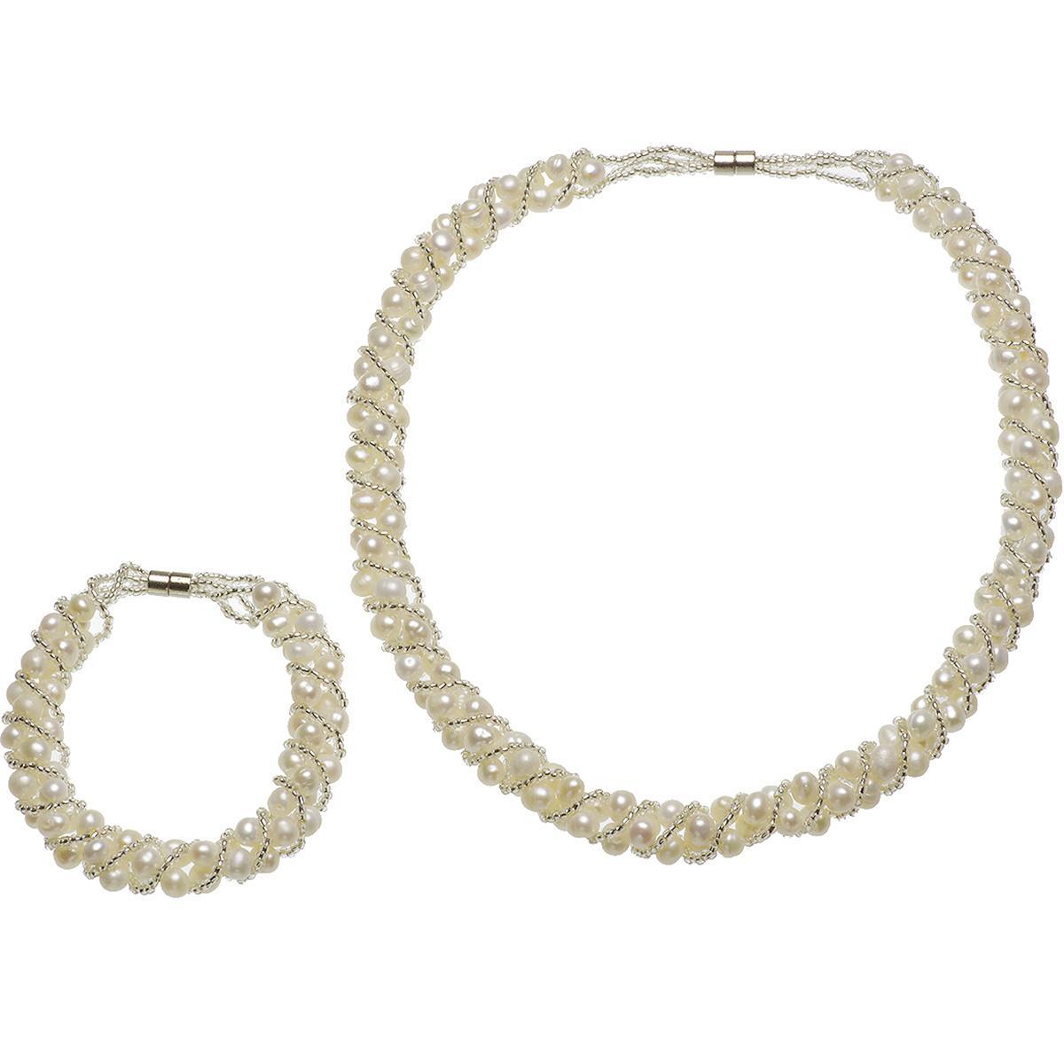 淡水真珠 網連 ネックレス ブレス セットの写真