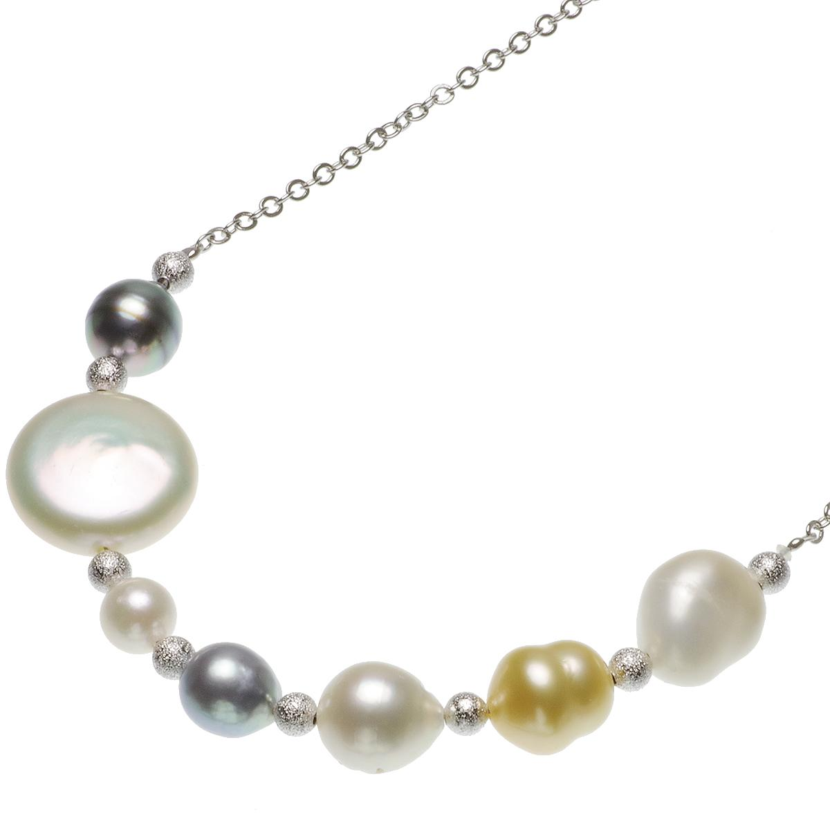 白蝶 黒蝶 アコヤ 淡水真珠 マルチカラー デザイン ネックレス 7.0-15.0mmの写真