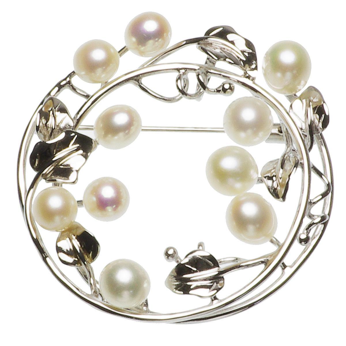 淡水真珠ブローチ 約7.0-8.0mmの写真