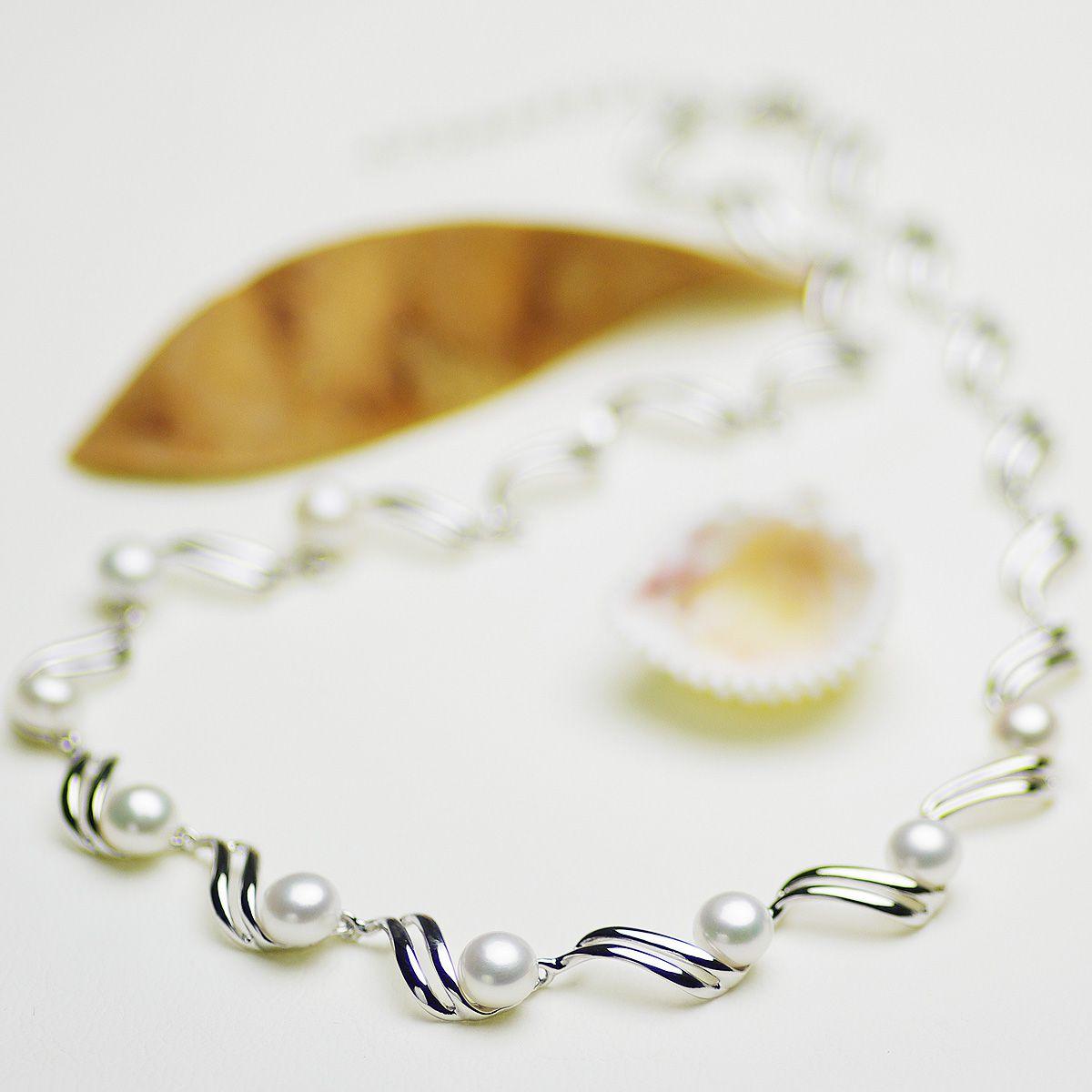 高級淡水真珠オリジナルデザインネックレス 約6.5-7.0mmの写真