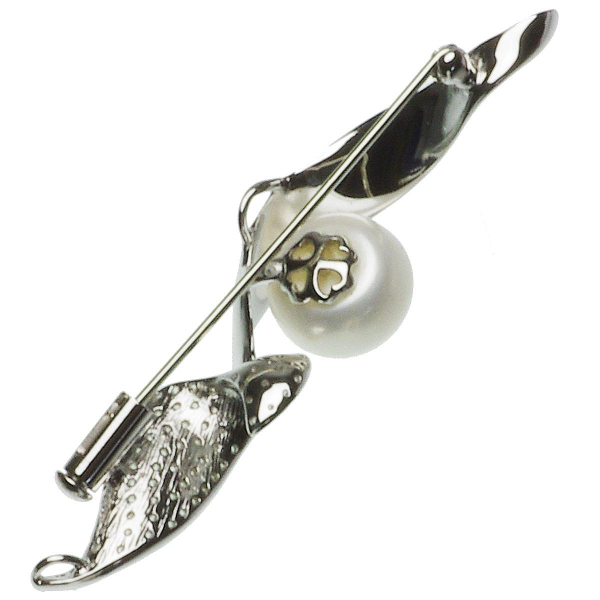 淡水真珠 パール ブローチ シルバー SV ボタン 9.5-10.0mmの写真