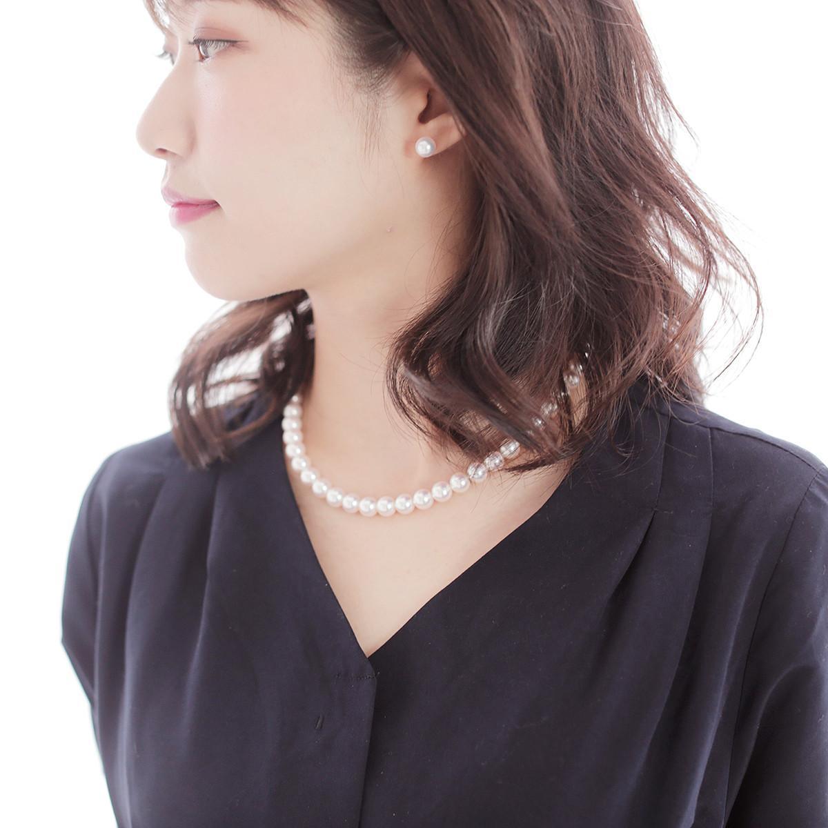 オーロラ 天女 花珠 パールネックレス セット 約8.5-9.0mmの写真