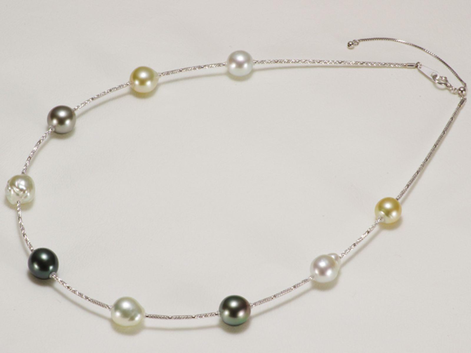 南洋白蝶真珠オリジナルデザインネックレス 約8.5-9.5mmの写真