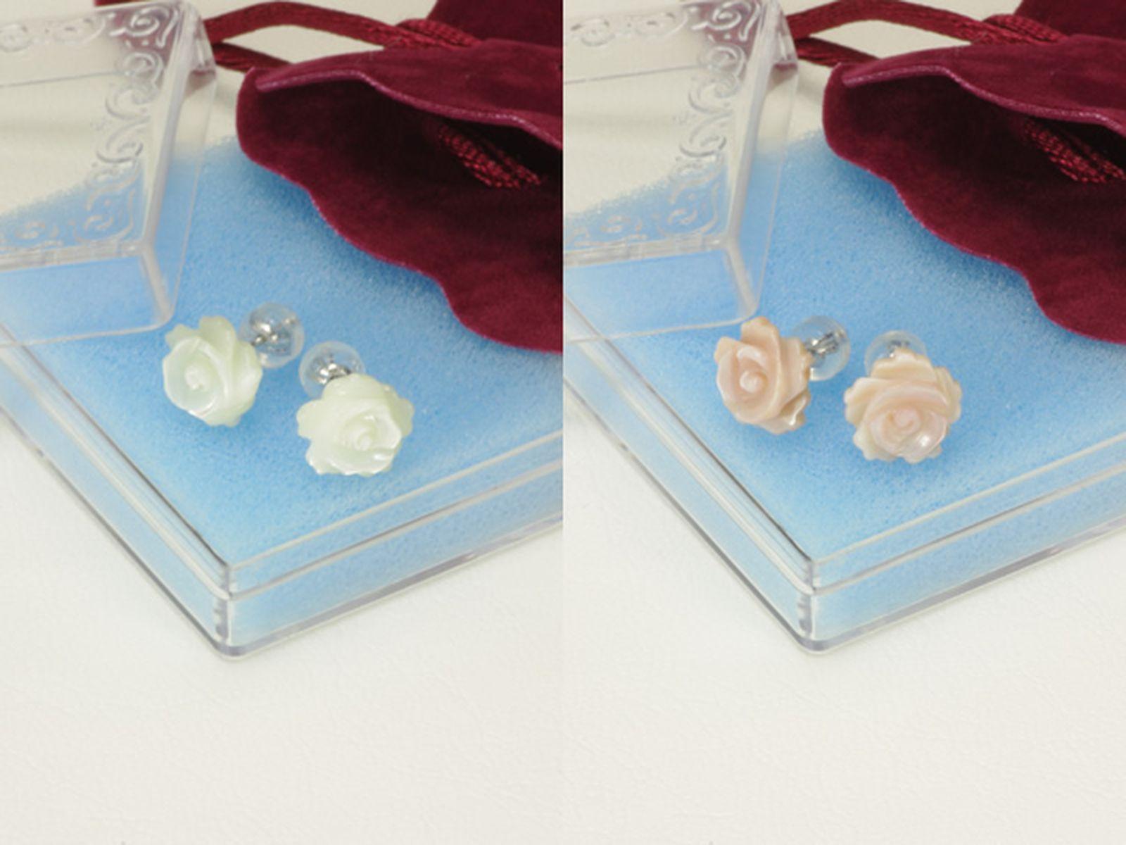 白蝶シェルイヤリング 約10.0mmの写真