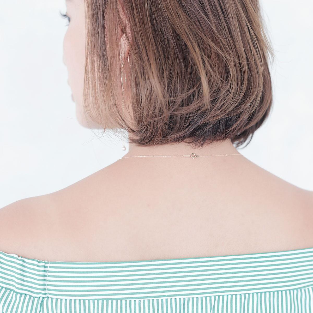 アコヤ 真珠 ライン パール ネックレス 3.0-3.5mm K10YG アレルギーの写真