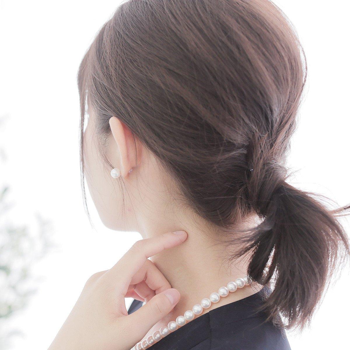 レディース シンプル アコヤ 花珠 真珠 パール ピアス 約8.0mm ホワイトゴールド K14WG ギフト プレゼントの写真