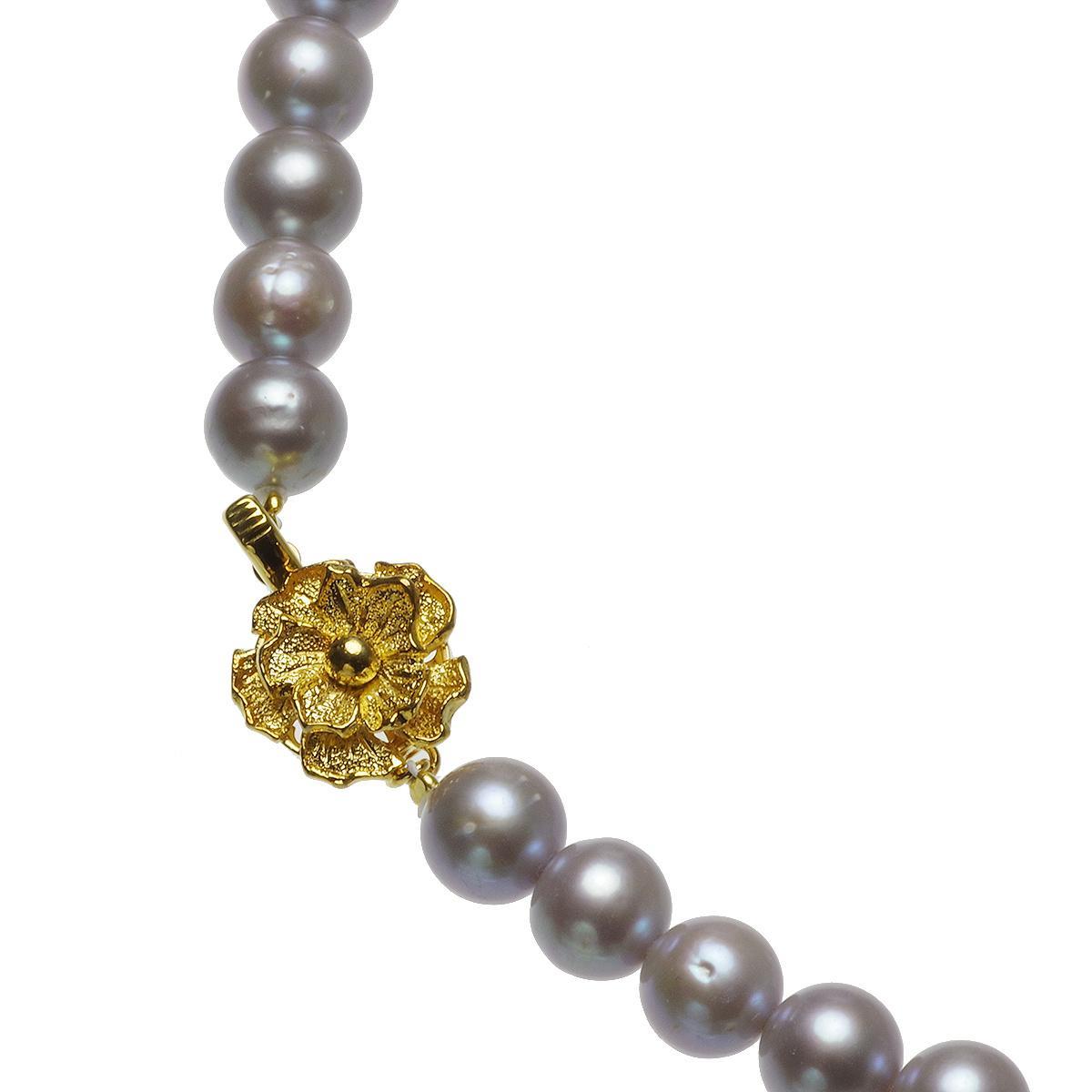 黒蝶シェル 淡水真珠 オリジナル ネックレス 8.0-9.0mm グレー染の写真