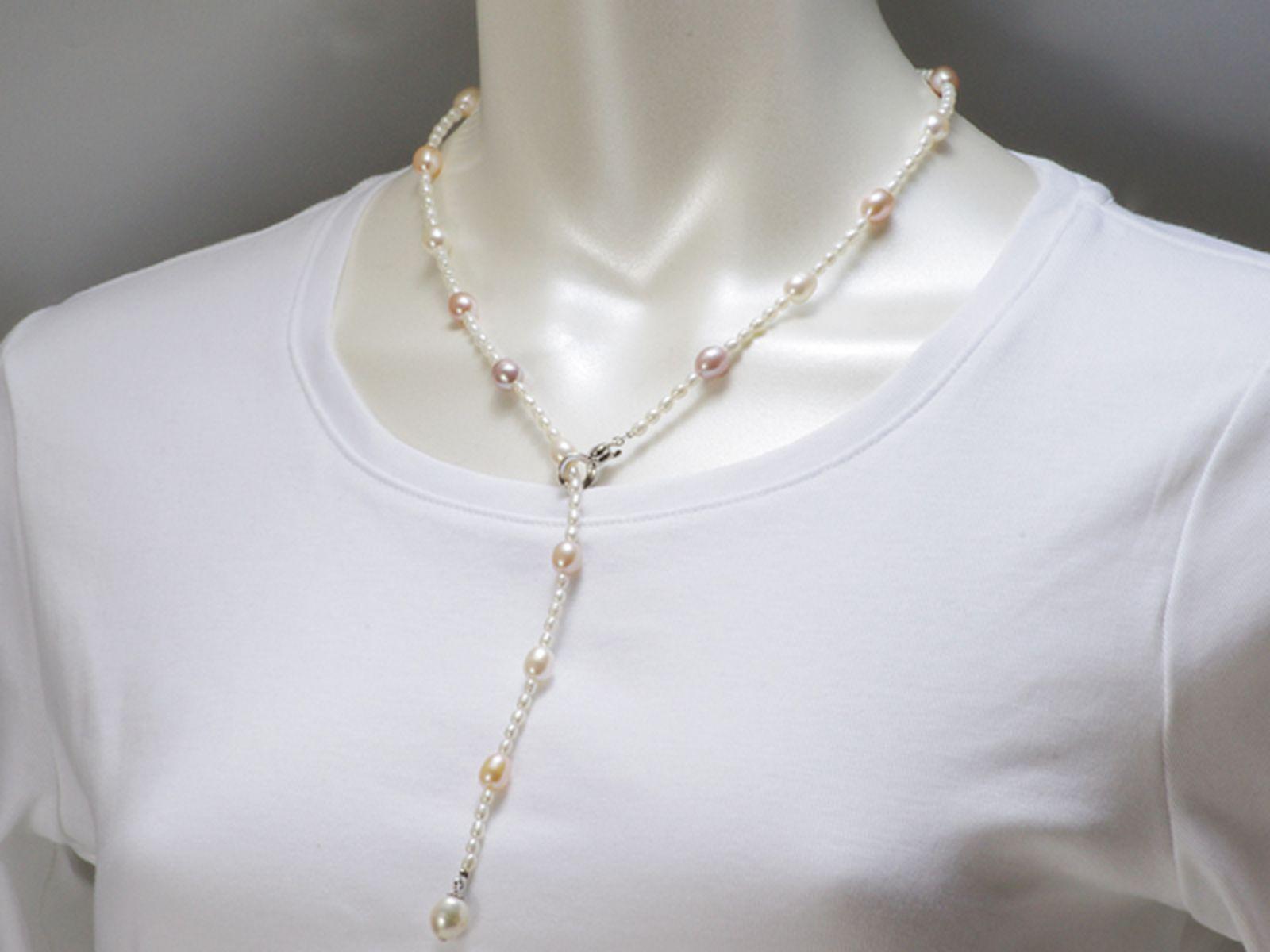 淡水真珠オリジナルデザインネックレス 約3.5-7.0MMの写真