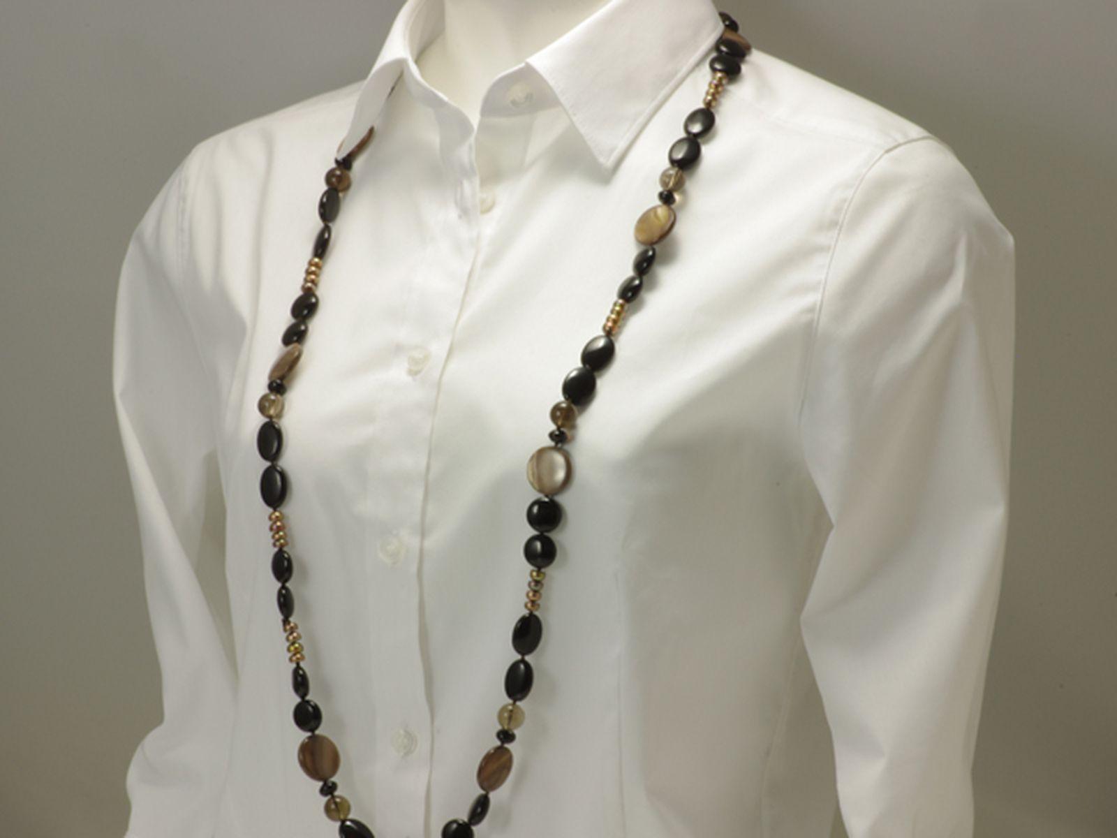 淡水真珠 パール ロングネックレス 約6.5mm 染 ボタン アウトレット 在庫の写真