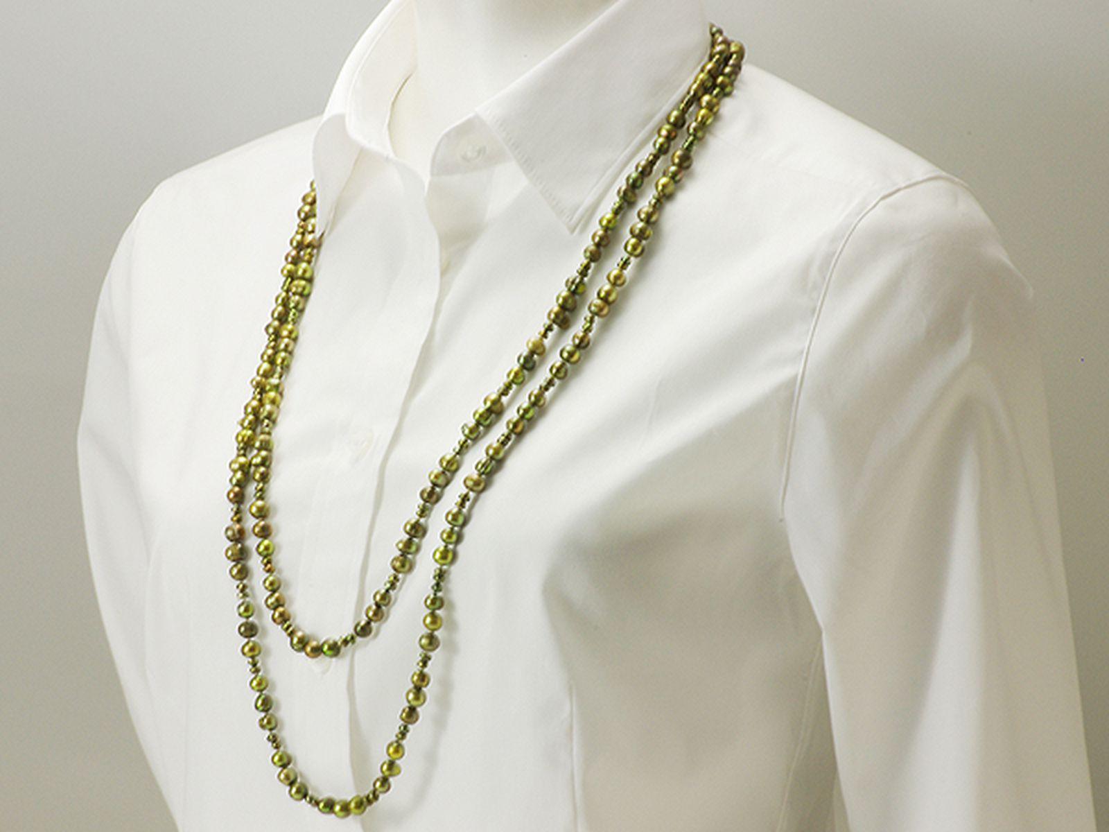 淡水真珠ロングネックレス 約3.5-6.5mmの写真