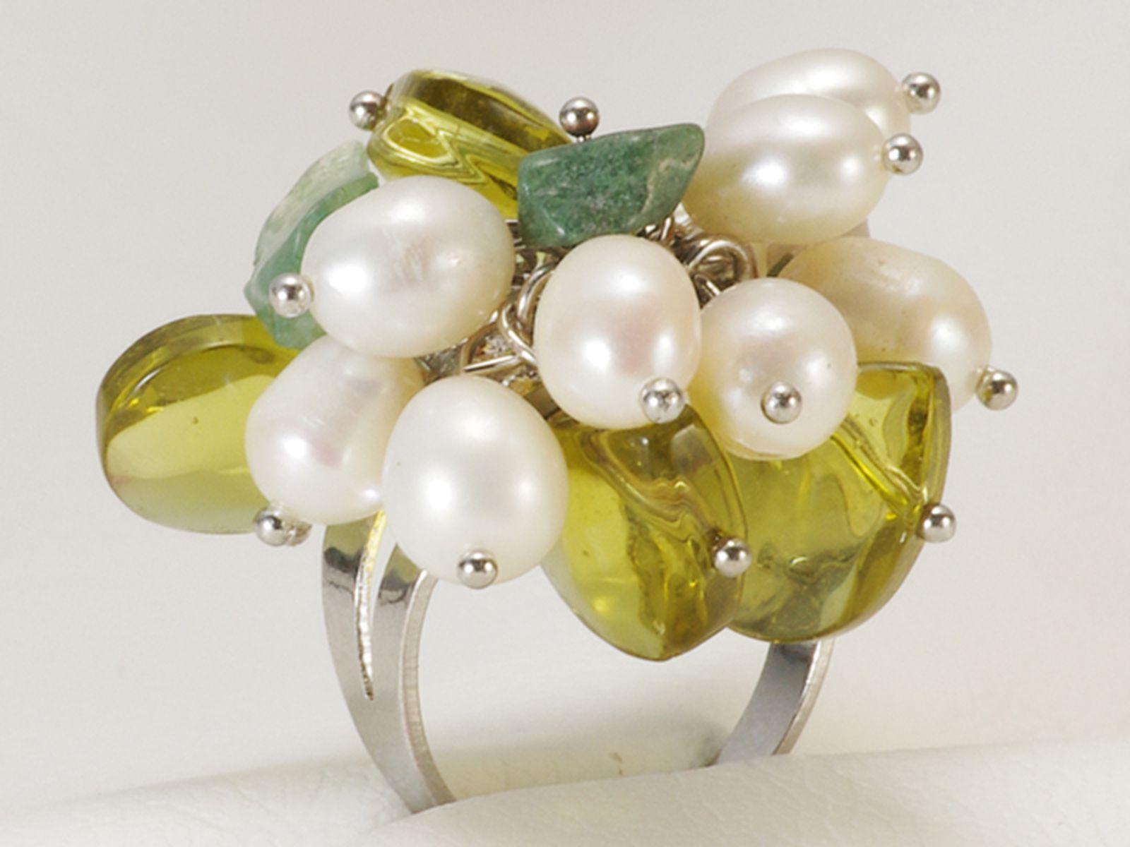 淡水真珠 パール リング 約5.0-6.0mm シンチュウ 合金の写真