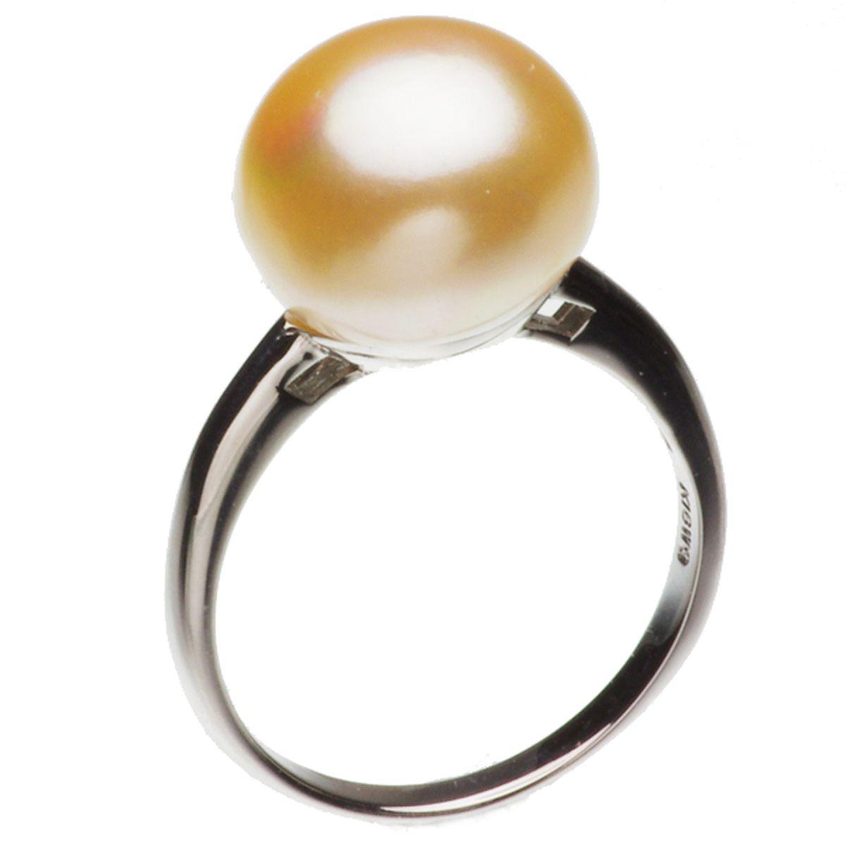 高級淡水真珠 パール リング 約10.9mm ホワイトゴールド K18WG オレンジ ボタン珠の写真