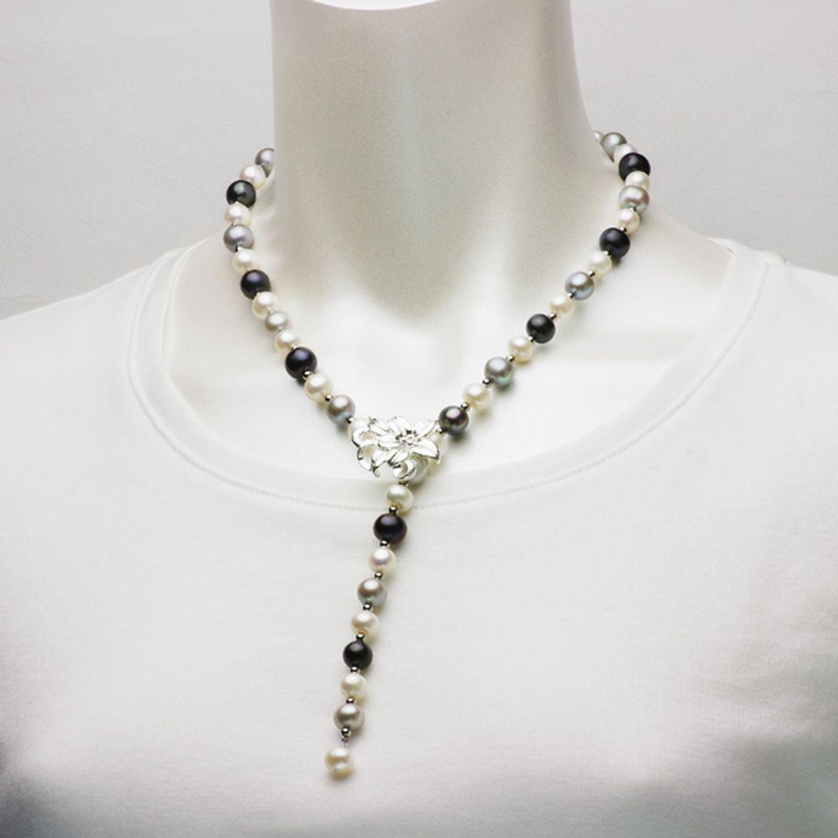淡水真珠オリジナルデザインネックレス 約8-9.5mmの写真