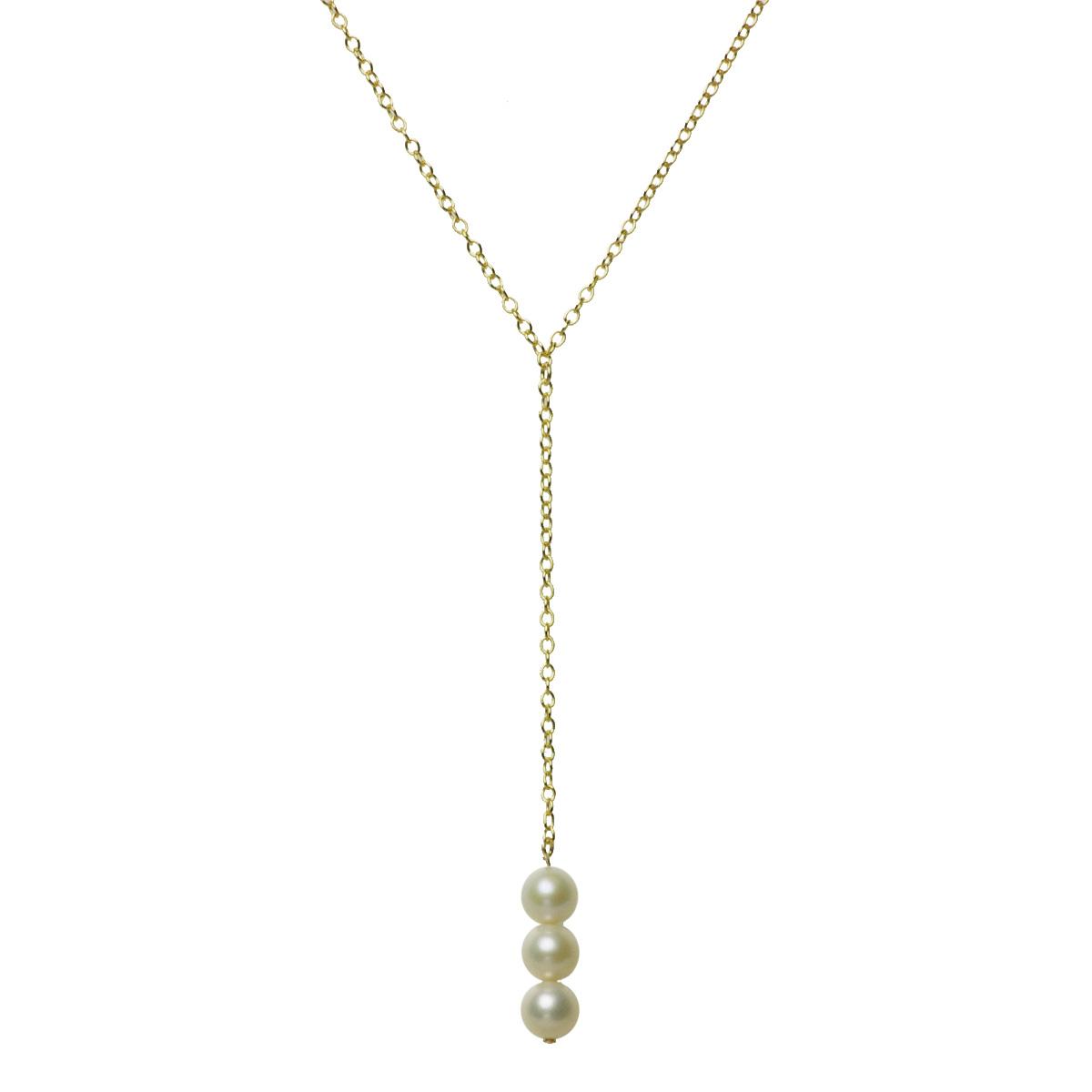 淡水 真珠 パール Y字 ネックレス 6.0mm 14金 ゴールドフィールドの写真
