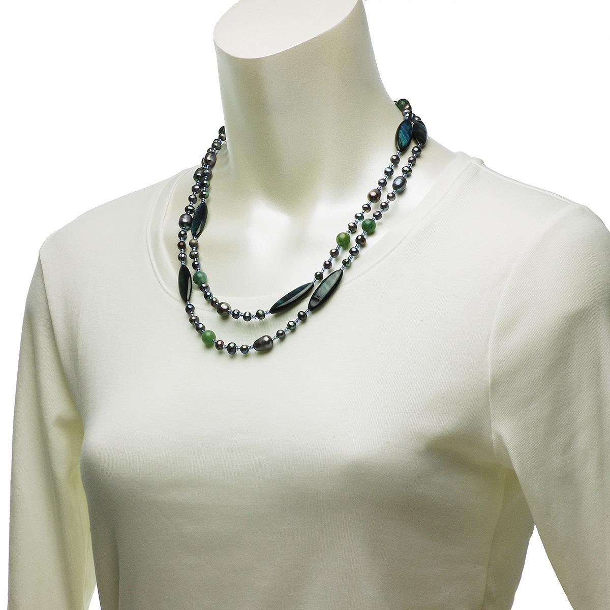 淡水 シェル ロング ネックレス の写真