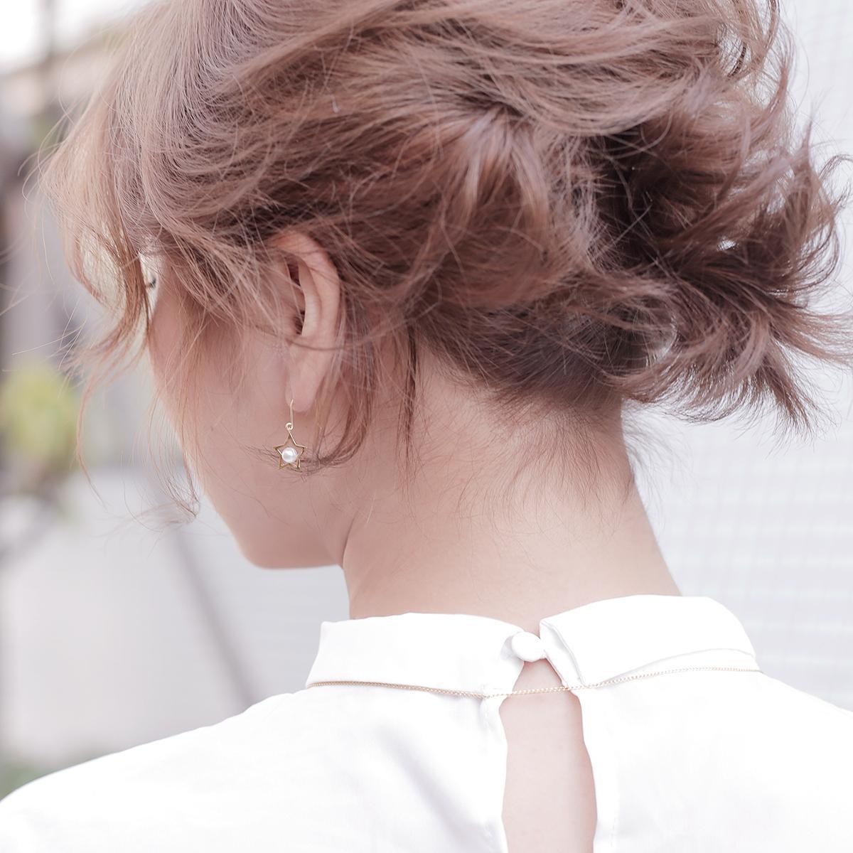 淡水真珠 パール オリジナル デザイン ピアス 約5.0-5.5mm スター モチーフ フック ピアス K18 18金の写真