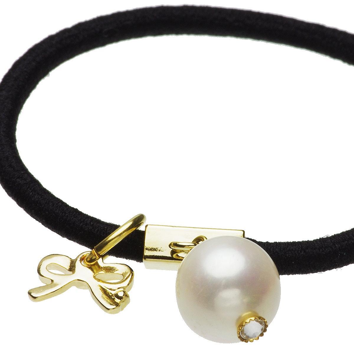 大粒 淡水真珠 パール チャーム付 ヘアゴム 約10.0mmの写真