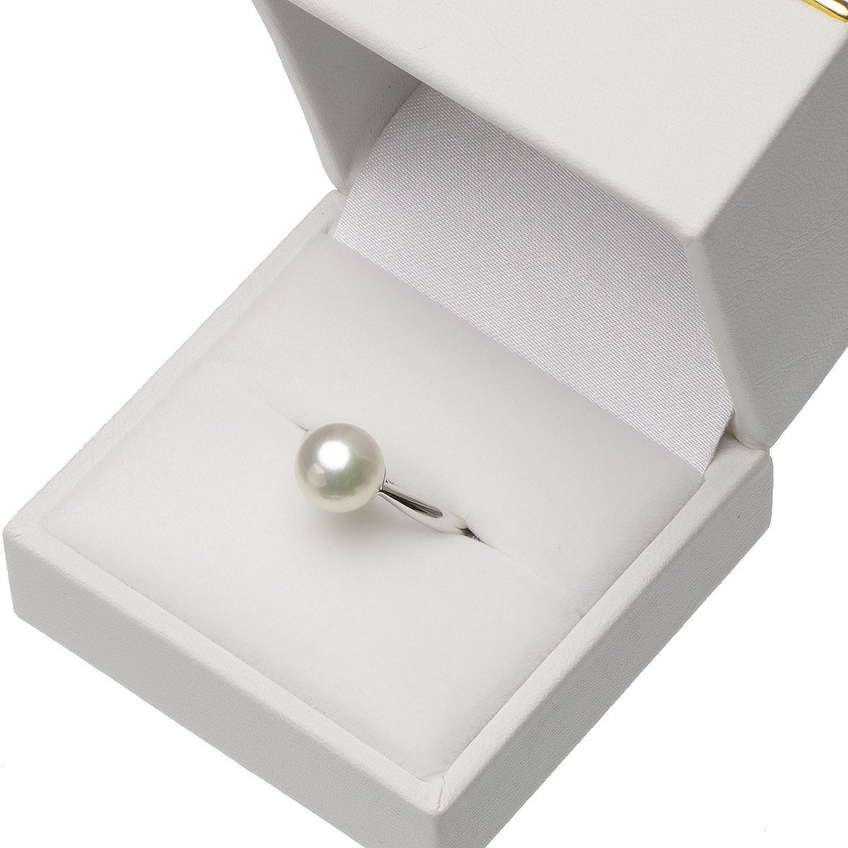 アコヤ真珠 花珠 パール リング 約8.5mm プラチナ pt900の写真