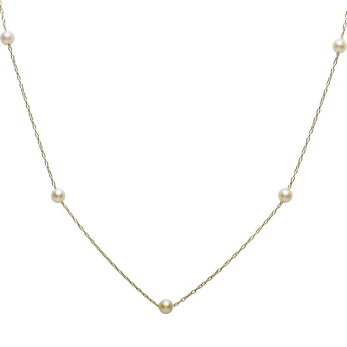 アコヤ 真珠 パール ステーション ネックレス 約4.0-4.5mm x 7 ゴールド K18 真珠 パール ギフト プレゼントの写真