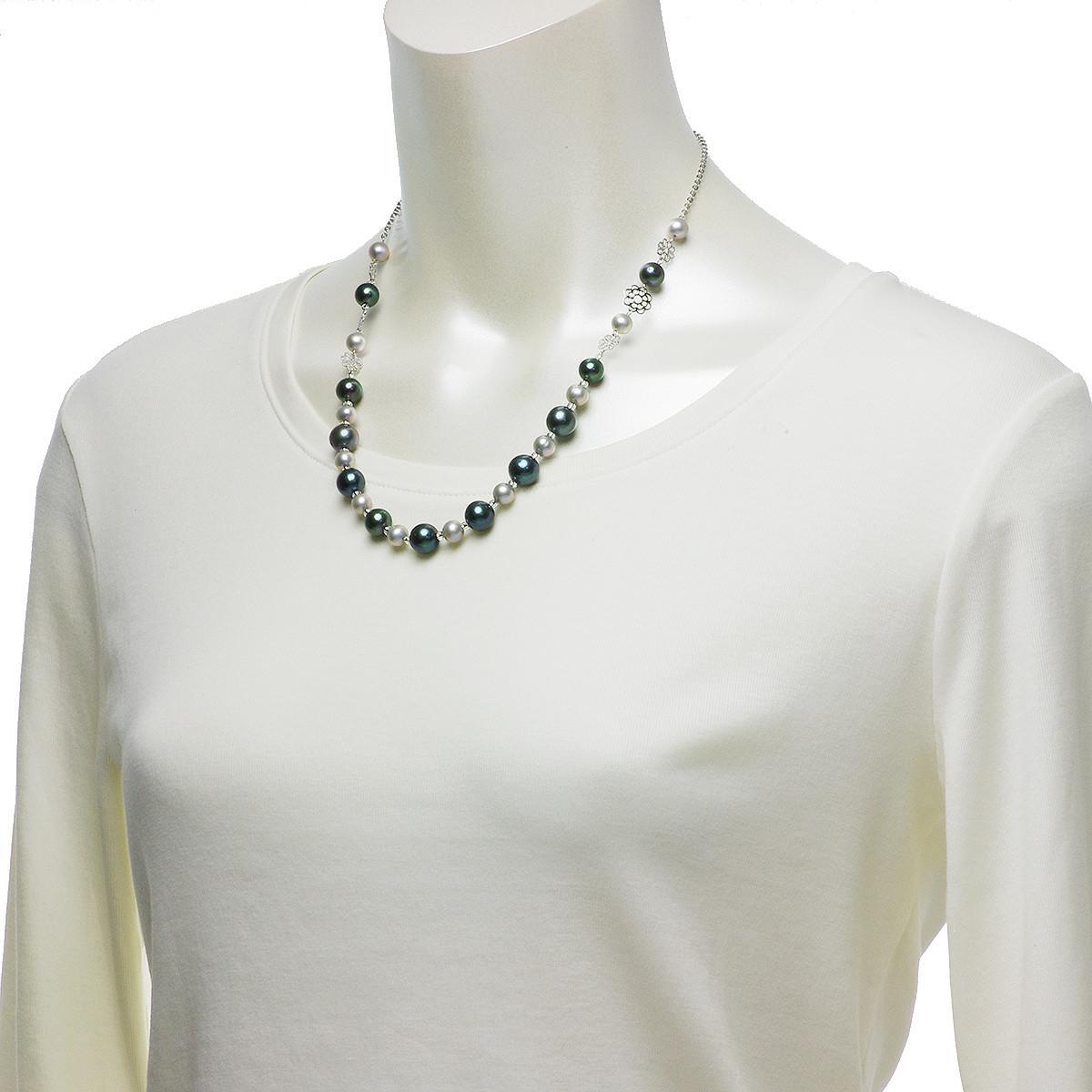 淡水真珠 オリジナル モノトーン デザイン ネックレス 6.5-10.0mmの写真